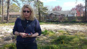 woman in backyard